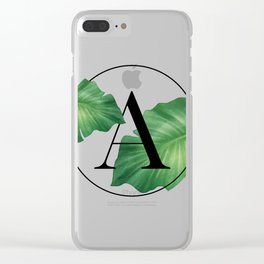 Monogram Leafs - Letter A Clear iPhone Case