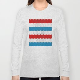The Sailor - Vintage Nautical Striped Waves RWB Long Sleeve T-shirt
