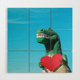 Tiny Arms, Big Heart: Tyrannosaurus Rex with Red Heart Wood Wall Art