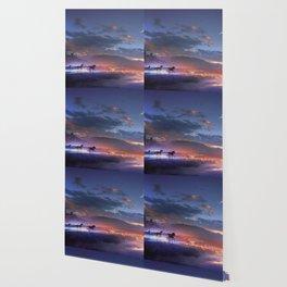 Fascinating Wild Fairytale Horses Running Across Mystic Fire River Dreamy Sunset UHD Wallpaper