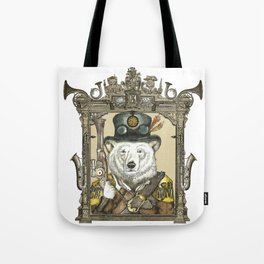 Polarbear Warden with Steampunk Frame Tote Bag