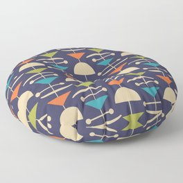 Retro Mid Century Modern Abstract Mobile 646 Blue Orange Olive and Beige Floor Pillow