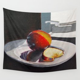 Plum in a Sunny Window Wall Tapestry