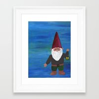 gnome Framed Art Prints featuring Gnome by rebecca oravec