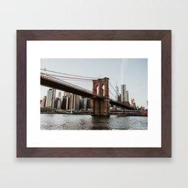 Skyline with Brooklyn Bridge   Colourful Travel Photography   New York City, America (USA) Framed Art Print
