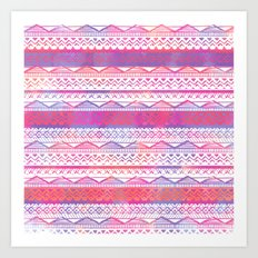 Pink purple watercolor hand drawn aztec pattern  Art Print