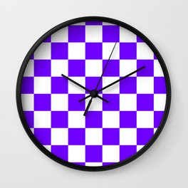 Checkered - White and Indigo Violet Wall Clock