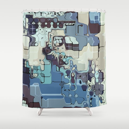 Blue And Green Pastels Abstract Shower Curtain
