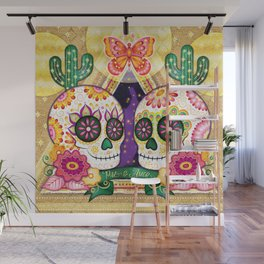 Sugar Skull Couple - Peace & Love Day of the Dead Skull Art by Thaneeya McArdle Wall Mural