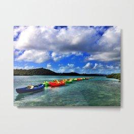 Caribbean Kayaks on a Line - Antigua & Barbuda Metal Print