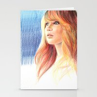 jennifer lawrence Stationery Cards featuring Jennifer Lawrence by xDontStopMeNow