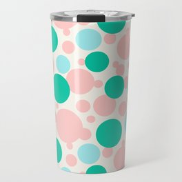 Green, blue and pink circles over beige Travel Mug