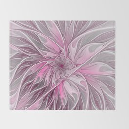 Abstract Pink Floral Dream Throw Blanket