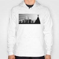 rio de janeiro Hoodies featuring Rio de Janeiro skyline by siloto