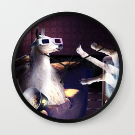Llama With 3D Glasses Watching 3D Horror Movie Wall Clock