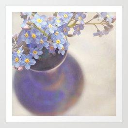Forget me nots in blue vase. Art Print