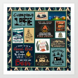 Camping Life- Welcome to our camper Art Print