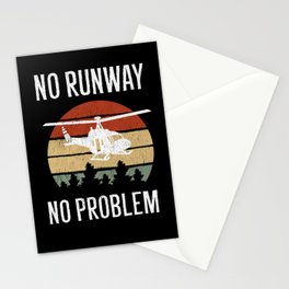 No Runway No Problem Helicopter Pilot Aviation Stationery Cards