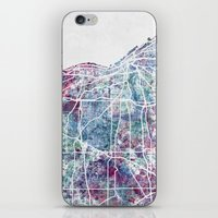 cleveland iPhone & iPod Skins featuring Cleveland map by MapMapMaps.Watercolors