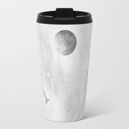 Full Moon Solstice: Abstract Black and White Travel Mug
