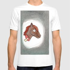 Lisa's Pony White MEDIUM Mens Fitted Tee