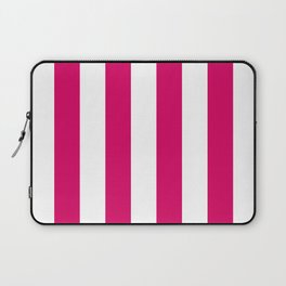 Bright Pink Peacock and White Wide Vertical Cabana Tent Stripe Laptop Sleeve