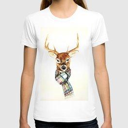 Deer buck with winter scarf - watercolor T-shirt