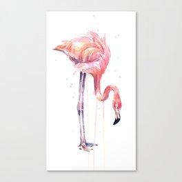 Flamingo Painting Watercolor Canvas Print