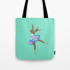 Bunny Rabbit Ballerina - Teal Blue Tote Bag