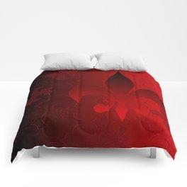 Fleur De Lis Red Holiday Pattern Comforters