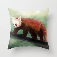 red panda Throw Pillows featuring Red Panda by Ben Geiger