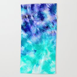 modern boho blue turquoise watercolor mermaid tie dye pattern Beach Towel