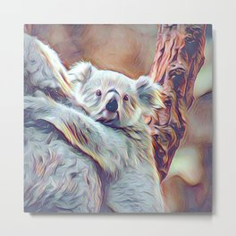 Painted Koala Baby Metal Print