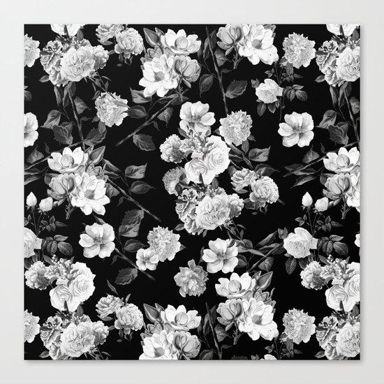 Black and White Botanic Pattern Canvas Print