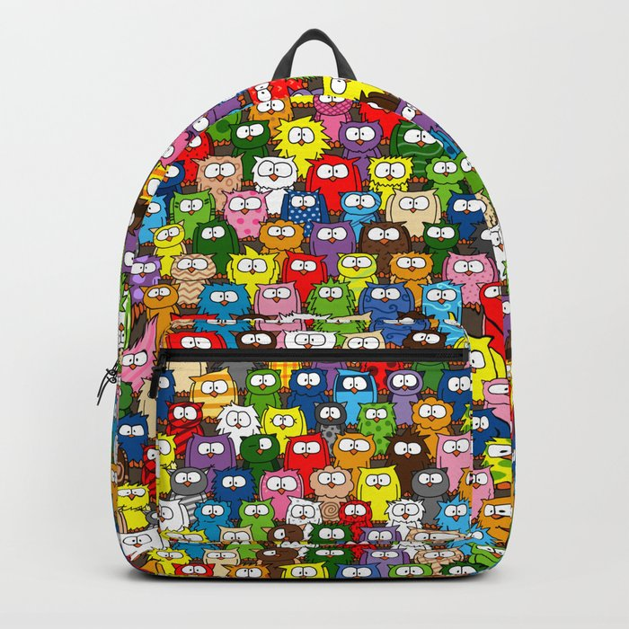 colorful crowd of owls Backpack