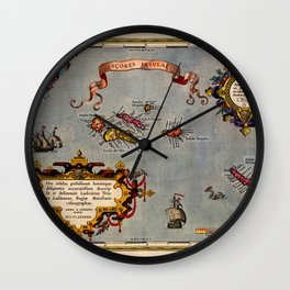 Map Of The Azores 1606 Wall Clock