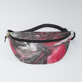 Black and Red Floral Explosion Fanny Pack