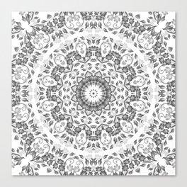 Gray White Floral Mandala Canvas Print