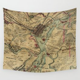 Vintage Savannah Georgia Civil War Map (1864) Wall Tapestry
