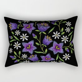 Embroidered Flowers on Black Circle 07 Rectangular Pillow