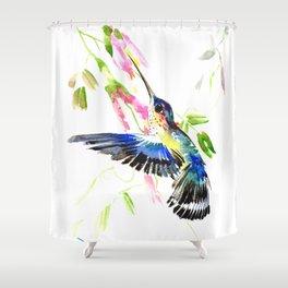 Flying Blue Hummingbird Shower Curtain