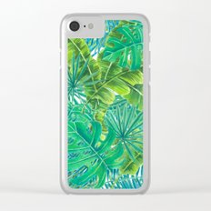Tropcal leaves watercolor Clear iPhone Case