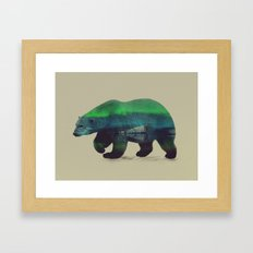 Polar Bear in Northern Lights Framed Art Print