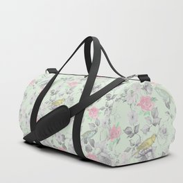 Vintage Pink White Mint Green Bird Floral Collage Duffle Bag