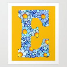 Blue Daisy Letter/ Initial E on Yellow-Orange Background Art Print