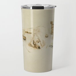 Felinology - Fine art dog photography where a cockerspaniel is tired of stydying and reading books Travel Mug