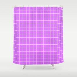 Heliotrope - violet color - White Lines Grid Pattern Shower Curtain