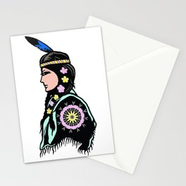 Indian woman with flowers Stationery Cards