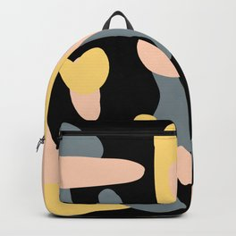 Grey, Pink, and Yellow Splotches on Black Backpack