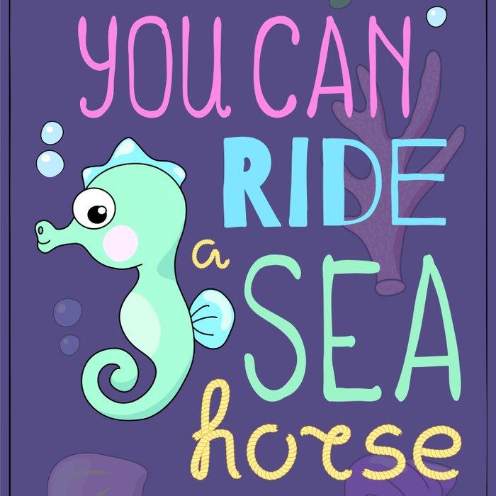 Underwater Cartoon Poster with Seahorse Comforters
